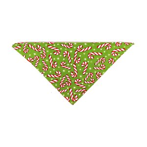 Christmas Holiday Bandannas - Candy Canes on Green