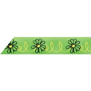 Ribbon / Flowers on Lime - 50 Yards