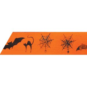 Ribbon / Halloween on Orange - 50 Yards
