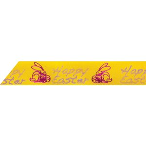 Ribbon / Happy Easter on Yellow - 50 Yards