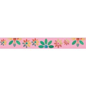 Ribbon / Large Flowers on Light Pink - 50 Yards