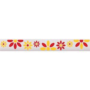 Ribbon / Large Flowers on White - 50 Yards
