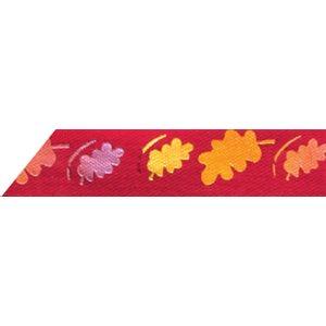 Ribbon / Autumn Leaves on Burgundy - 50 Yards